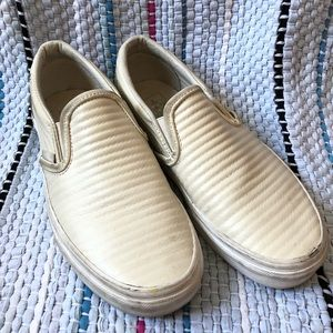 79903cd859ac Vans Ribbed White Leather Slip Ons Size 7.5
